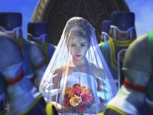 Yuna dans la serie Final Fantasy X, obligé de se marier a un seigneur pour maintenir les alliances politique. au grand dam de son cher et tendre...